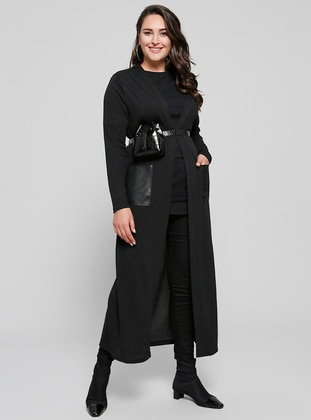 Black - Plus Size Cardigan - Alia
