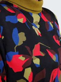 Black - Fuchsia - Multi - Unlined - Polo neck - Plus Size Dress