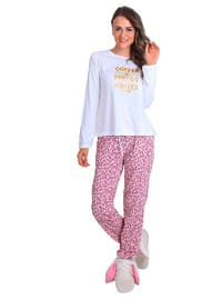 White - Crew neck - Multi - Pyjama