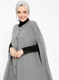 Anthracite - Crew neck - Unlined - Cotton - Poncho