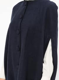 Navy Blue - Crew neck - Unlined - Cotton - Poncho