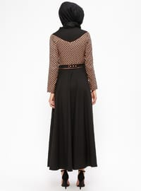 Black - Orange - Polka Dot - Crew neck - Unlined - Dresses