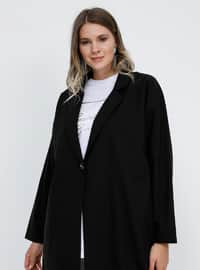 Black - Unlined - Shawl Collar - Plus Size Coat