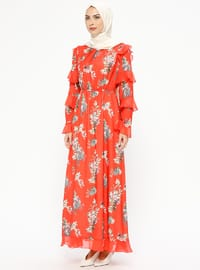 Coral - Floral - Crew neck - Fully Lined - Dresses