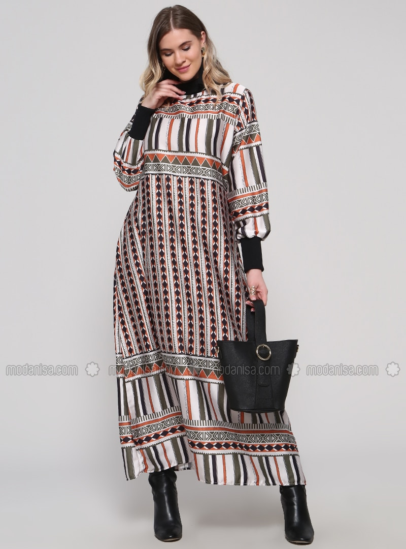 Khaki - Terra Cotta - Multi - Unlined - Polo neck - Plus Size Dress