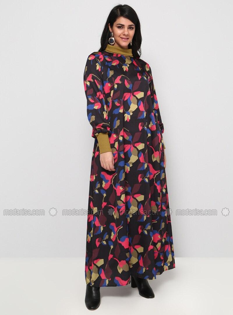 b93e8526bf3 Black - Fuchsia - Multi - Unlined - Polo neck - Plus Size Dress. Fotoğrafı  büyütmek için tıklayın