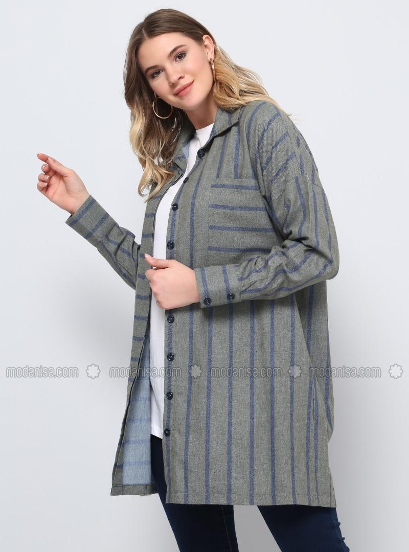 Khaki - Stripe - Point Collar - Plus Size Tunic