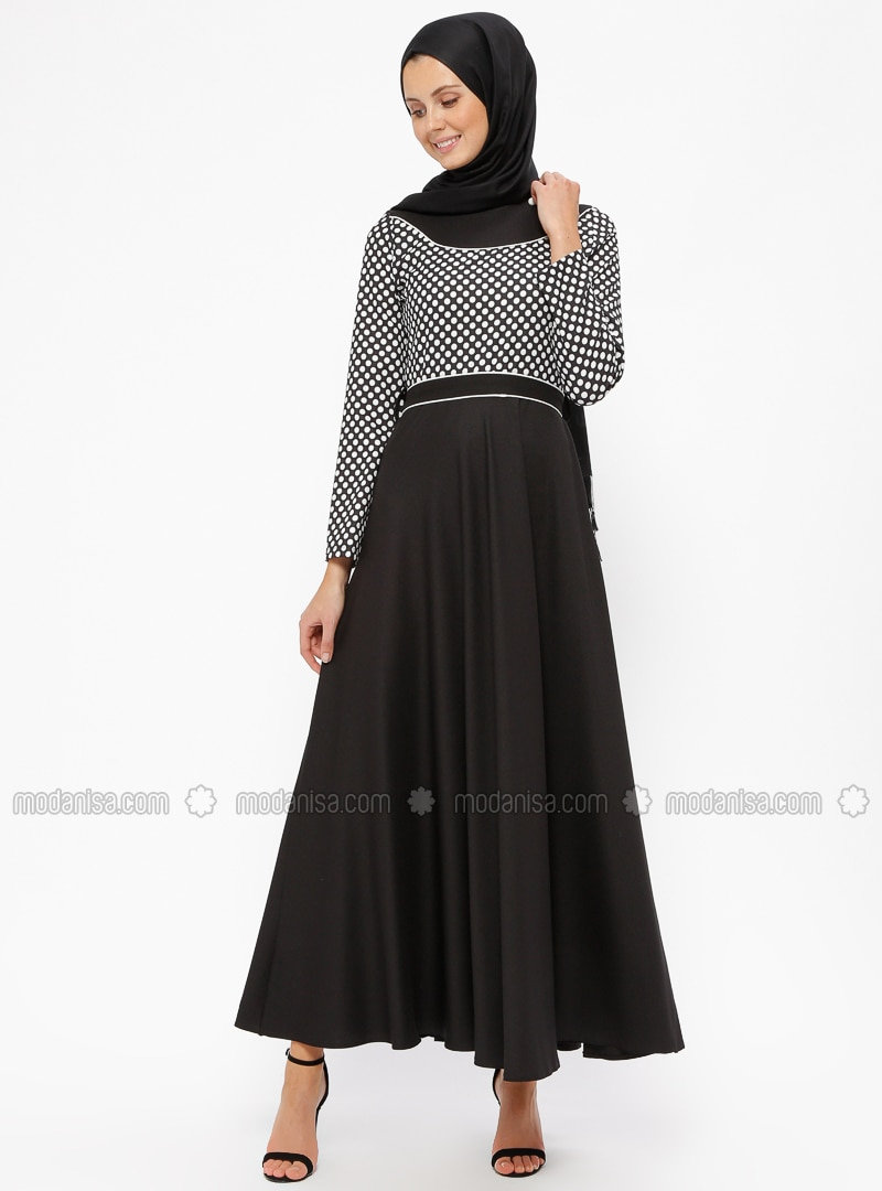 f46d8d99b04 Black - White - Ecru - Polka Dot - Crew neck - Unlined - Dresses. Fotoğrafı  büyütmek için tıklayın