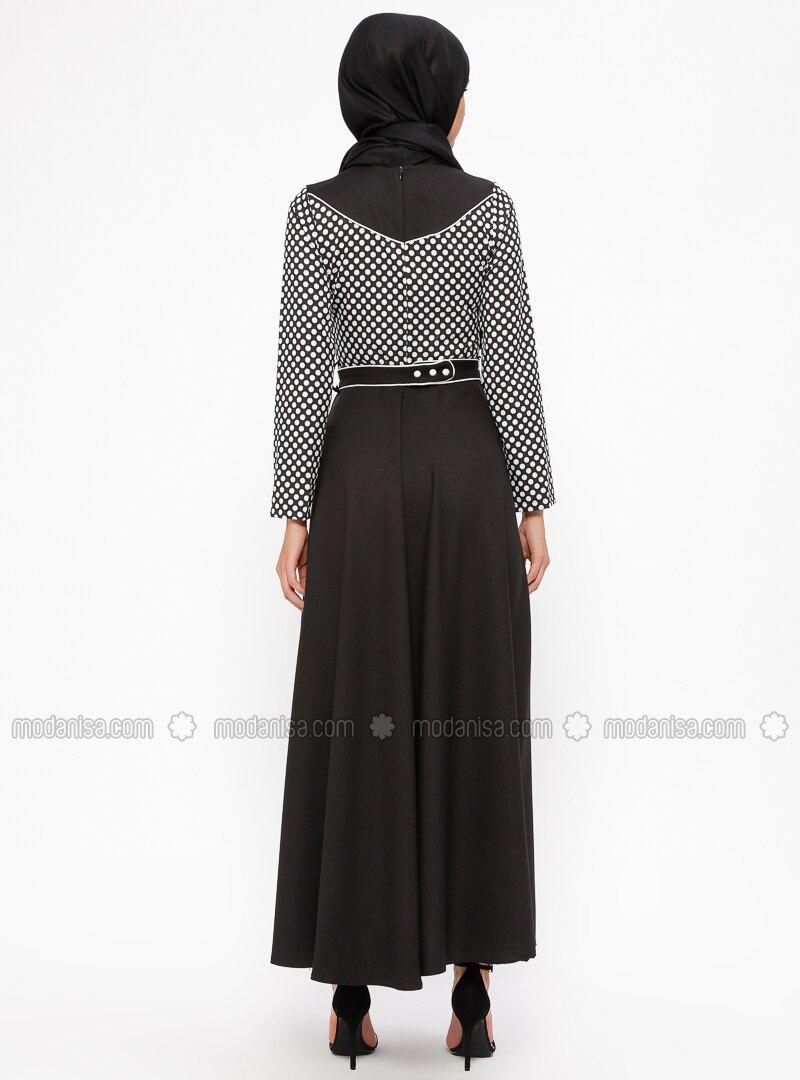 fe4e624a134 Black - White - Ecru - Polka Dot - Crew neck - Unlined - Dresses