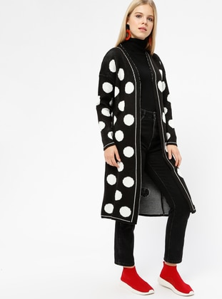 Black - Polka Dot - Acrylic -  - Cardigan