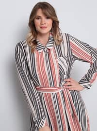 Minc - Stripe - Point Collar - Plus Size Tunic