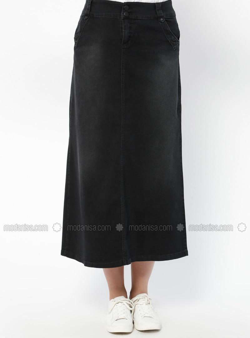 Black Unlined Denim Plus Size Skirt