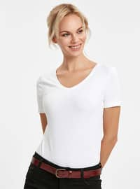 White - V neck Collar - T-Shirt