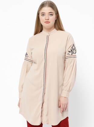 Beige – Crew Neck – Plus Size Tunic – Suem