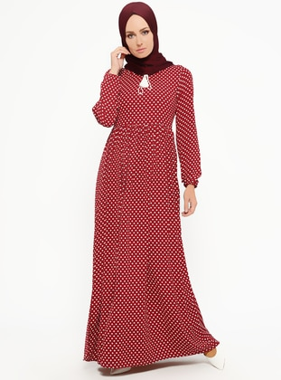 Maroon - Polka Dot - V neck Collar - Unlined - Dresses
