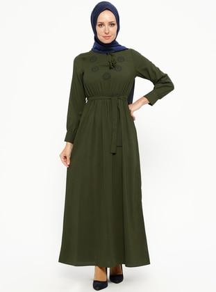 Khaki - V neck Collar - Unlined - Dresses