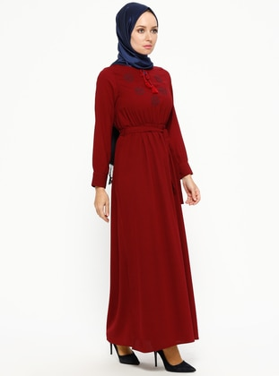 Maroon - V neck Collar - Unlined - Dresses