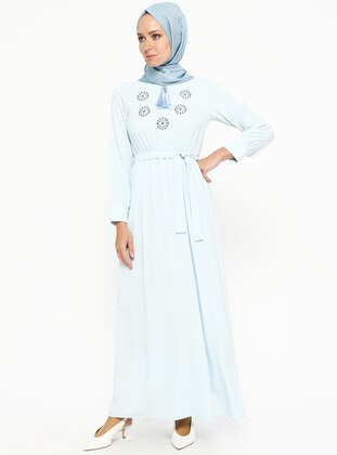 Baby Blue - V neck Collar - Unlined - Dresses