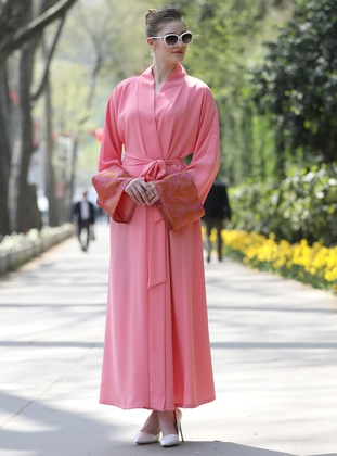 Pink Abaya with Silk Arm Detail