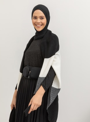 Black - Stripe - Acrylic -  - Cardigan - Meliana