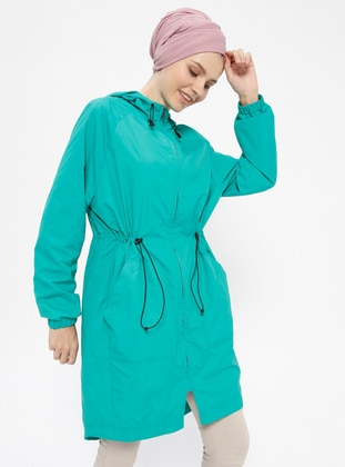 Green - Fully Lined - Trench Coat
