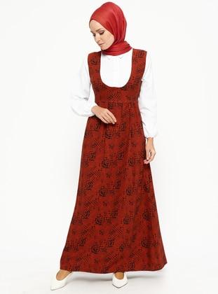 Terra Cotta - Multi - Point Collar - Unlined - Dresses
