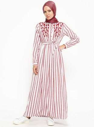 Maroon - Stripe - Point Collar - Fully Lined - Cotton - Dresses