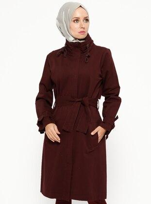 Plum - Unlined - Polo neck - Cotton - Jacket