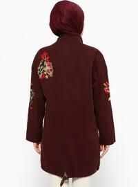 Plum - Unlined - Polo neck - Jacket