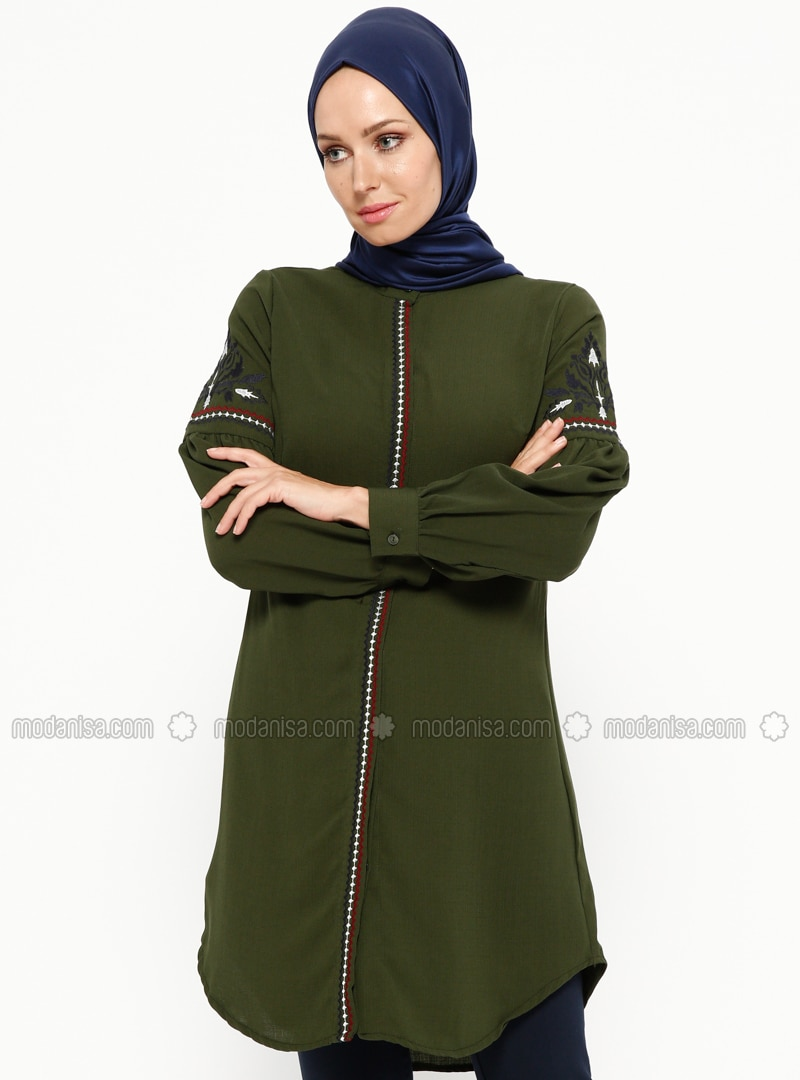 Khaki - Button Collar - Tunic
