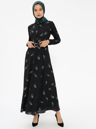 Black - Multi - Point Collar - Fully Lined - Dresses