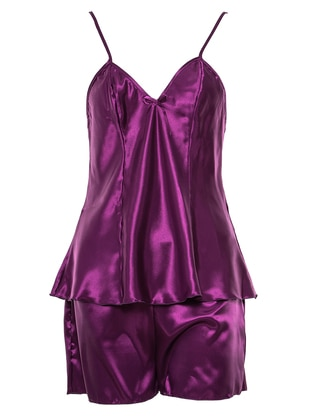 Purple - V neck Collar - Nightdress - Lingabooms
