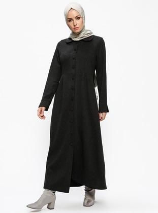 Black – Unlined – Round Collar – Viscose – Topcoat – Zenane