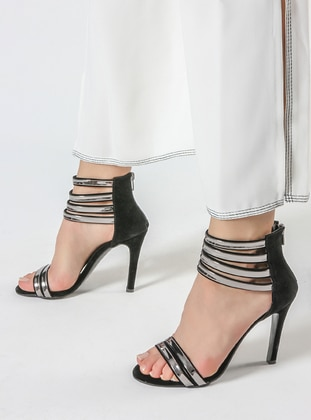 Black - Silver Tone - High Heel - Shoes
