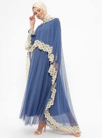 Blue - Indigo - Fully Lined - Crew neck - Muslim Evening Dress