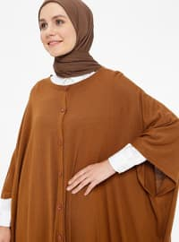 Tan - Crew neck - Unlined -  - Poncho