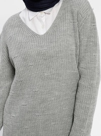 Gray - V neck Collar - Acrylic -  - Tunic