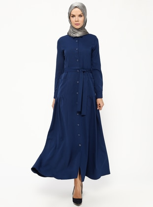 Navy Blue - Indigo - Point Collar - Unlined - Dresses