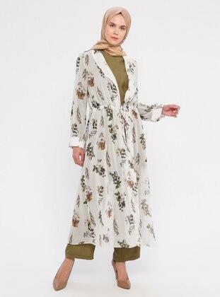 Ecru - Floral - Unlined - Shawl Collar - Topcoat