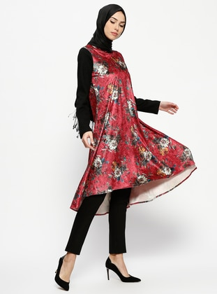 Maroon - Floral - Polo neck - Tunic