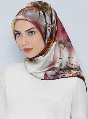 İpek Krep Saten Eşarp - Karışık Renkli - Aker Ürün Resmi