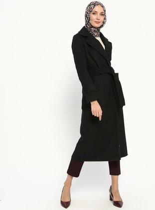 Black - Unlined - Shawl Collar - Coat - Miss Cazibe