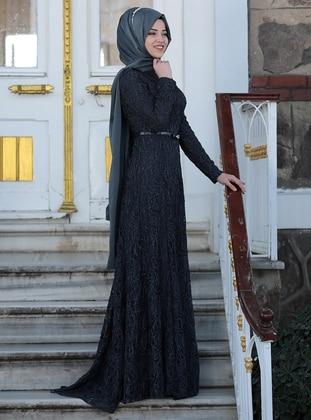 Anthracite – Fully Lined – Crew Neck – Muslim Evening Dress – Al-Marah