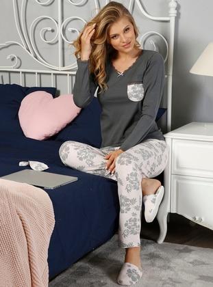 Anthracite – Crew Neck – Multi – Pyjama – Elitol Pijama