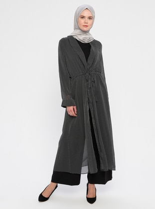Black - Polka Dot - Unlined - Shawl Collar - Topcoat