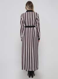 Black - Minc - Stripe - Unlined - Point Collar - Plus Size Dress