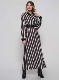 Black - Khaki - Stripe - Unlined - Point Collar - Plus Size Dress