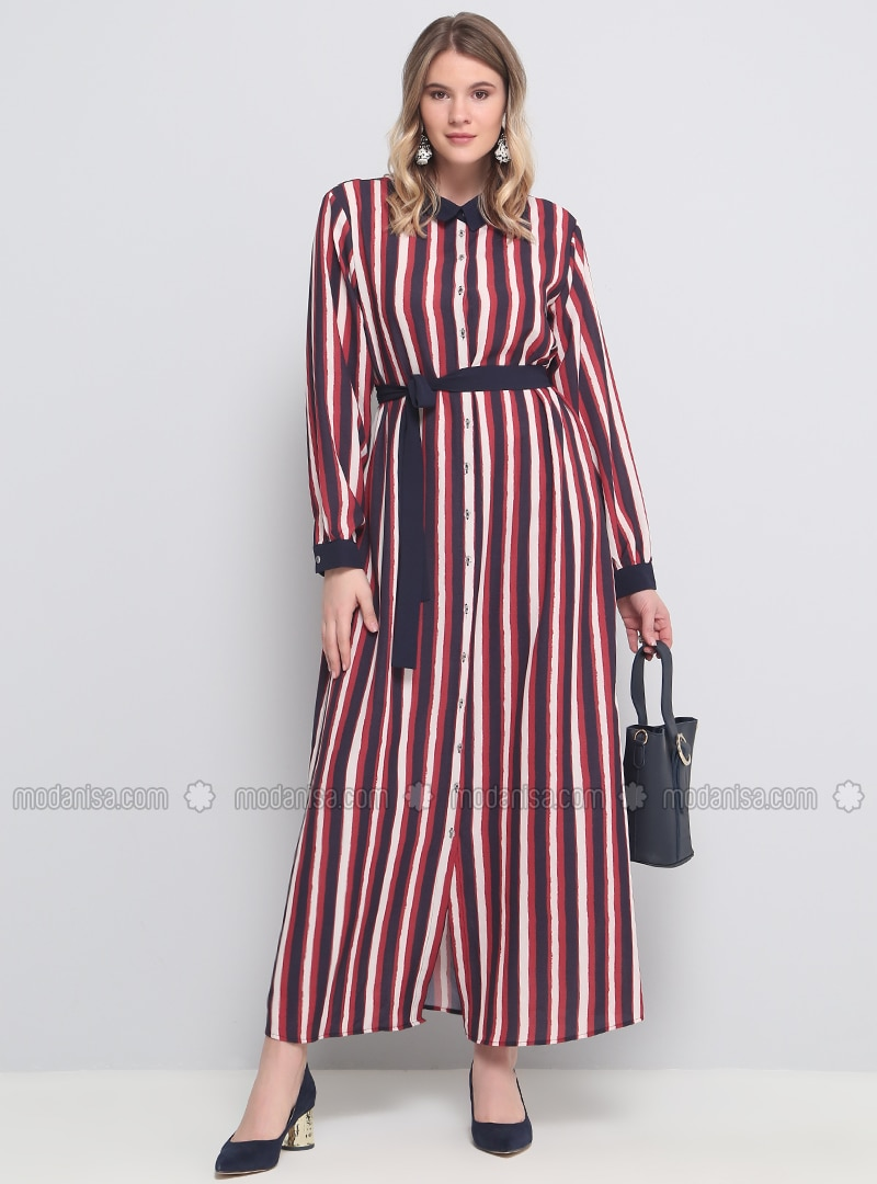 Maroon - Stripe - Unlined - Point Collar - Plus Size Dress