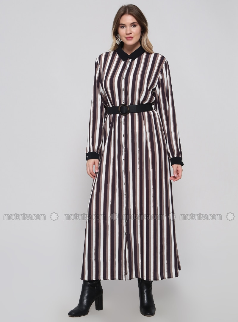 Black - Minc - Stripe - Unlined - Point Collar - Plus Size Dress