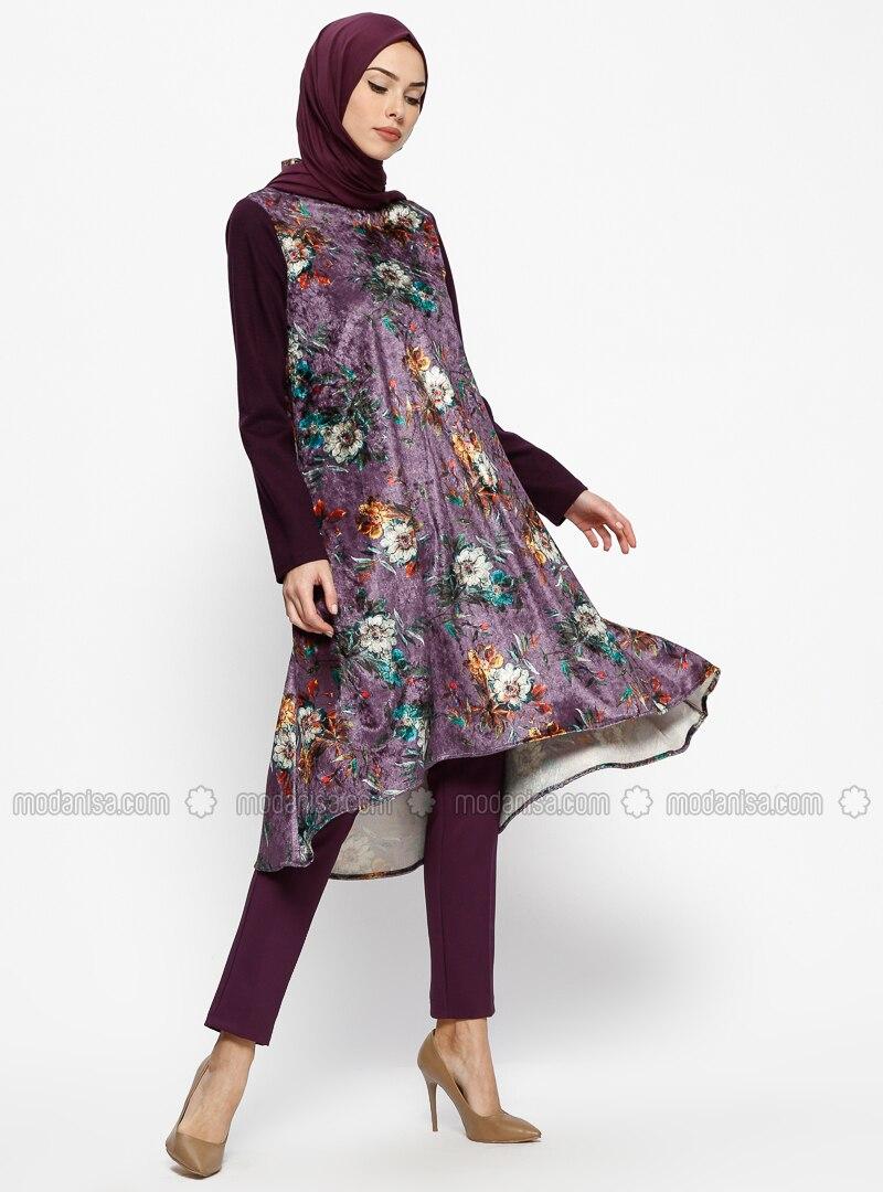 Purple - Floral - Polo neck - Tunic